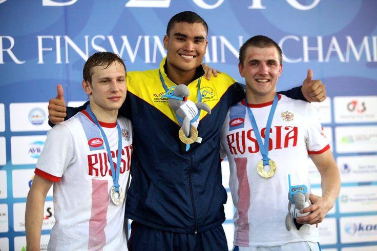 Juan Fernando Ocampo, campeón mundial de Natación con Aletas en 200 metros superficie, el 25 de junio en Volos, Grecia.