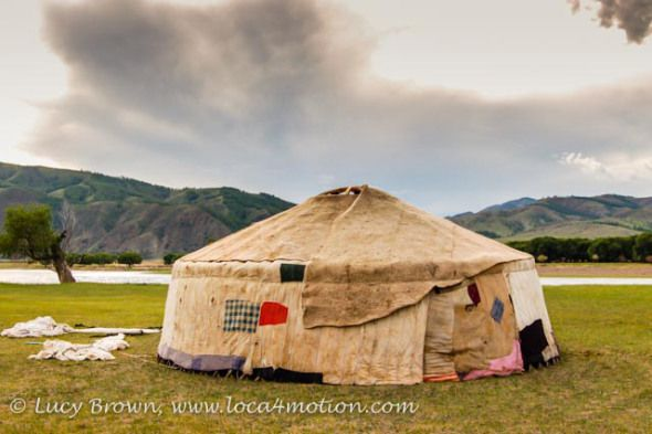 Contructing a Mongolian ger. Layers of wool felt cover the framework. Khutag Ondor, Central Mongolia