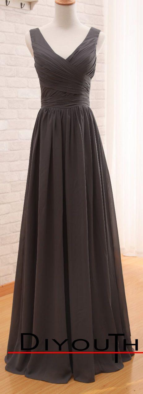 DIYouth.com Floor-Length V Neck Grey Formal Prom Bridesmaid Dresses, Grey prom dresses, Grey evening dresses, #wedding #prom