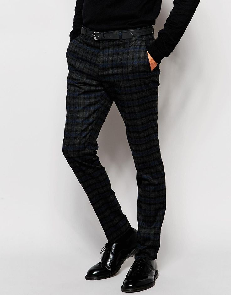 Selected Homme Brushed Check Trousers in Skinny Fit