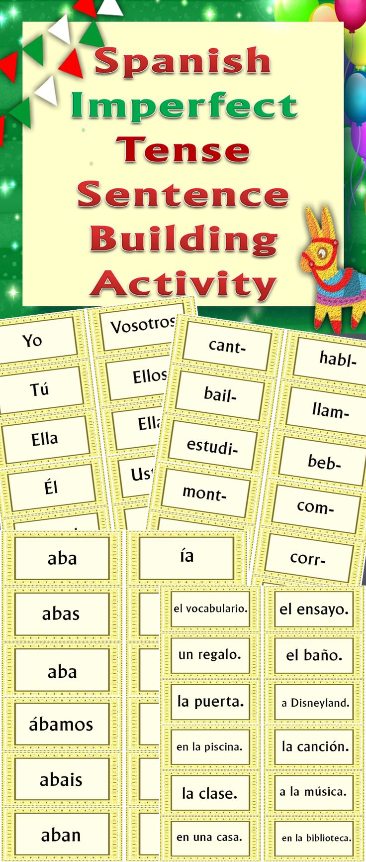 Great hands-on practice of making complete sentences in the #Spanish #imperfect #tense! Students create logical sentences from the subject, verb, verb ending, and sentence ending cards provided, one type of card per sentence. Excellent formative assessment!