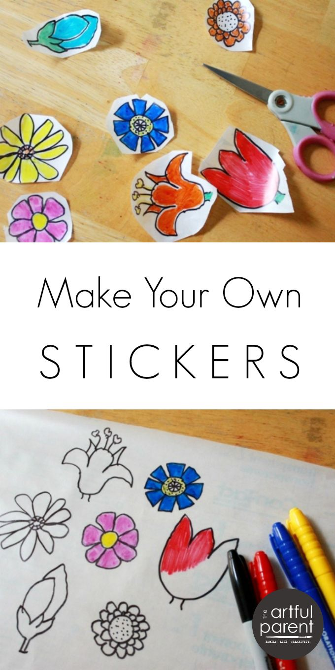 Make your own stickers with this easy DIY method and some contact paper. This creative activity for kids gives them free reign to create their own stickers.