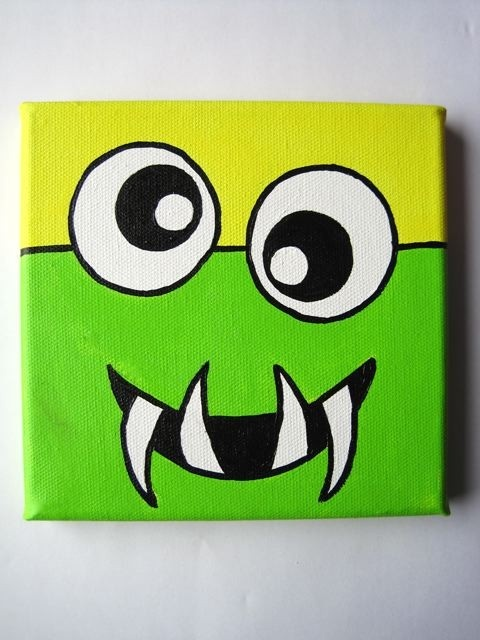 MONSTERS 6x6 inch Original painting on stretched canvas by DaRosa, $20.00