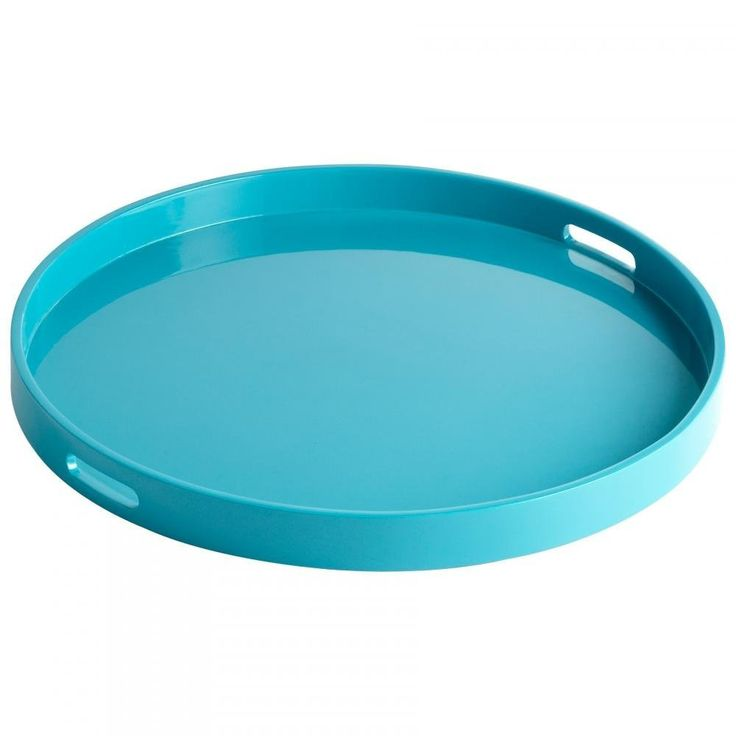Round Decorative Tray Estelle Round Wood Tray With Lacquered Teal Finish  Wood Tray