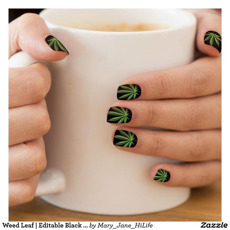 Weed Leaf | Editable Black Background Color Minx Nail Art | Zazzle.com