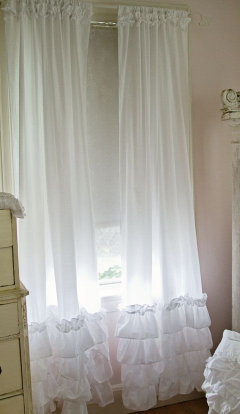 Ruffled curtain panels, shabby chic style curtains, white ruffles, vintage rose collection