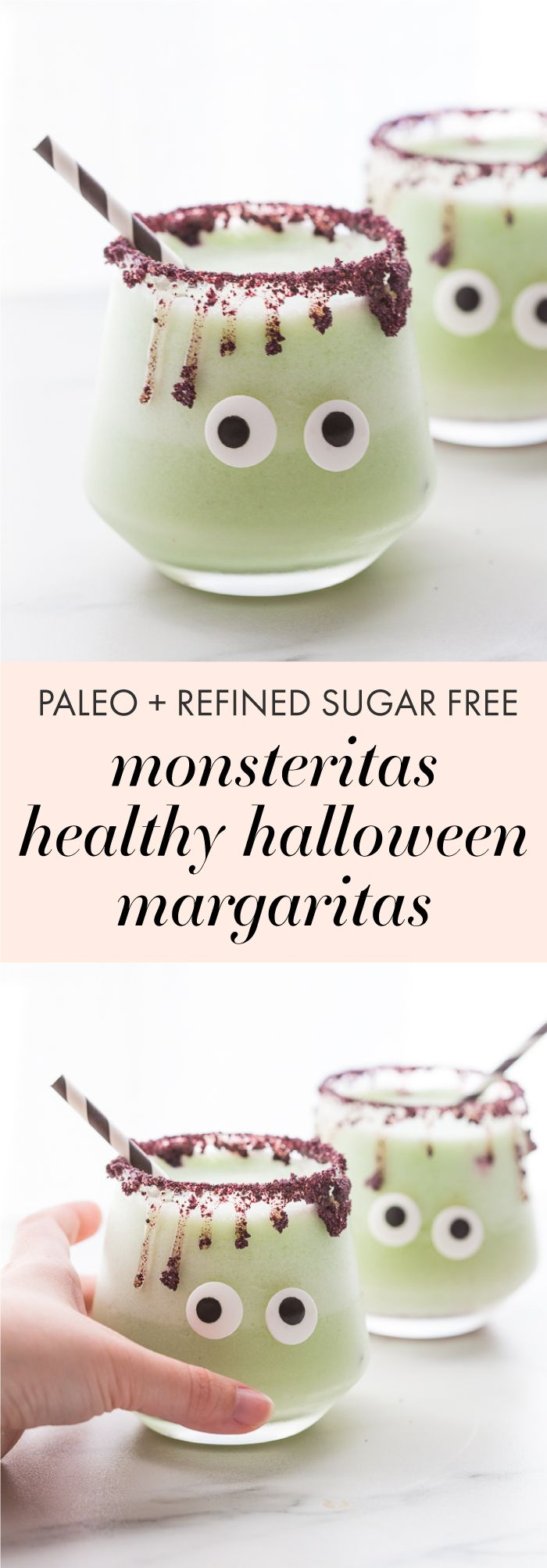 """These """"monsteritas"""" are healthy Halloween margaritas spiked with cucumber and jalapeño for a trick and treat all in one! Sweetened with honey, these healthy Halloween margaritas are super festive and fun without any refined sugar or artificial coloring. With a freeze-dried blueberry rim and two candy eyes, these healthy Halloween margaritas are a must make for any adult Halloween party!"""