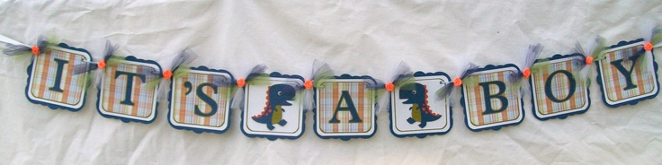 Blue dinosaur baby shower banner, its a boy - READY TO SHIP. $28.00, via Etsy.