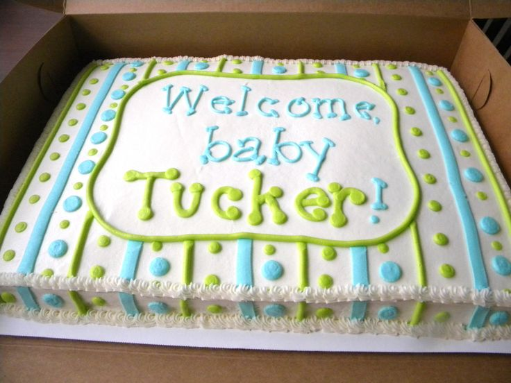 Baby Boy Shower Sheet Cake But In Purple And Yellow Or Pink