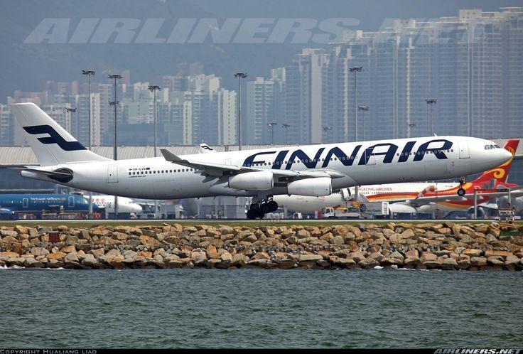 Airbus A340-313, Finnair, OH-LQG, cn 174, 266 passengers, first flight 6.5.1997 (Air France), Finnair delivered 7.2.2011. Foto: Hong Kong, China, 13.7.2013.