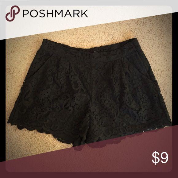 H&M lace shorts Excellent condition. Black lace shorts with pockets H&M Shorts