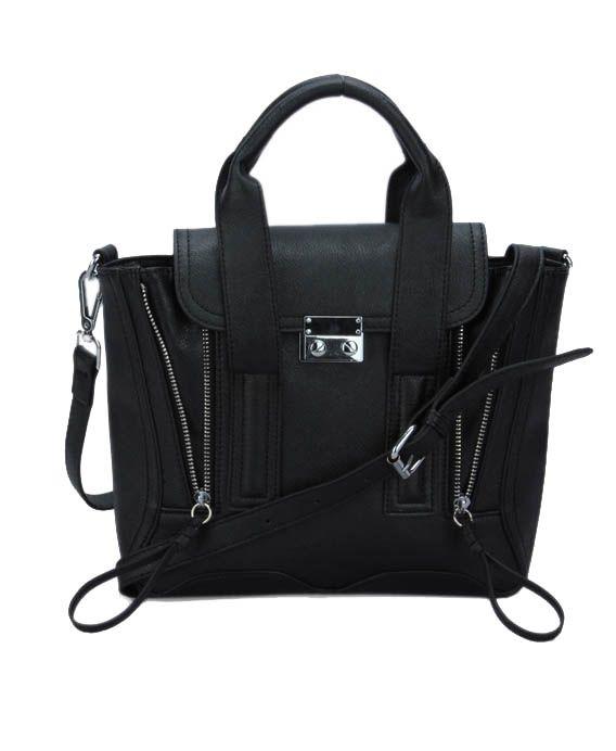 Double Zips Rectangular Shoulder Bag