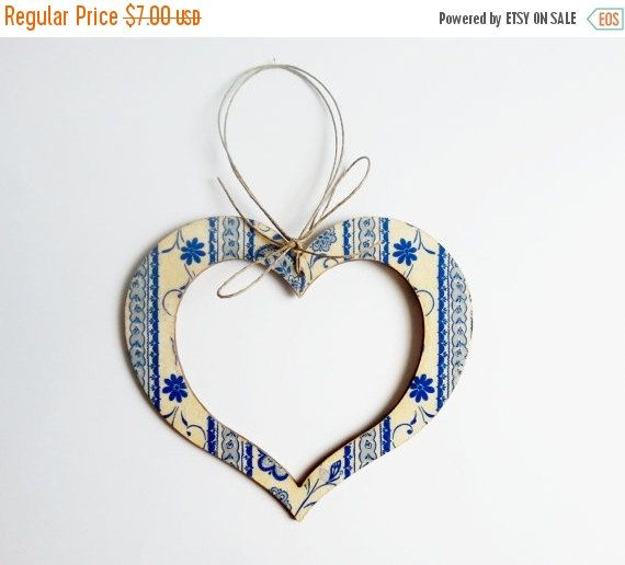 CHRISTMAS SALE Heart hanging decoration wooden by MKedraHandmade