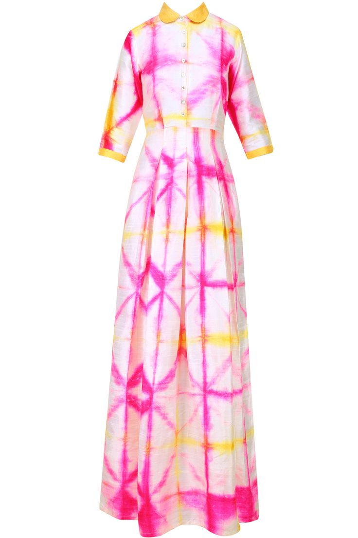 Pink and white tie and dye box pleat maxi available only at Pernia's Pop Up Shop.