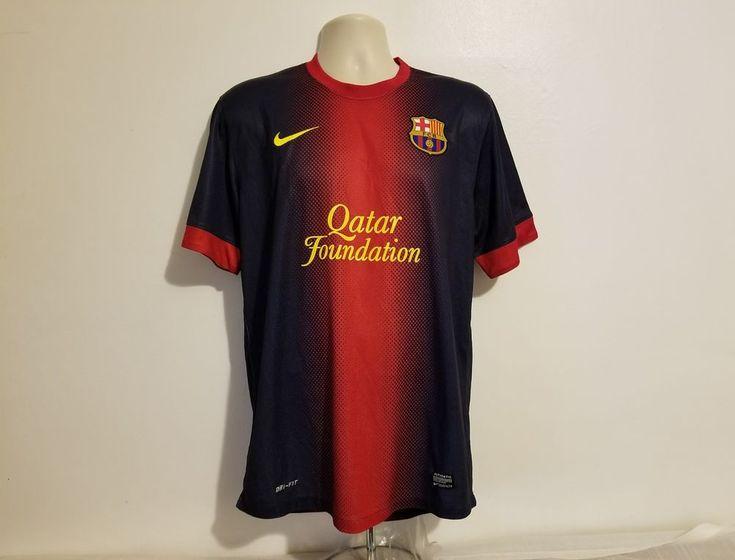Nike Qatar Foundation FCB Messi 10 Unicef Mens Black & Red XL Jersey #Nike #FCBarcelona