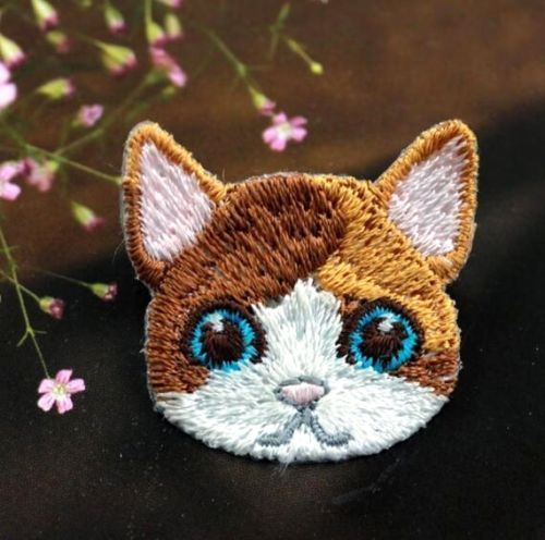 Embroidered Cloth Iron On Patch Sew Motif Applique Cute Cat Head DIY Patch ♫ #Unbranded
