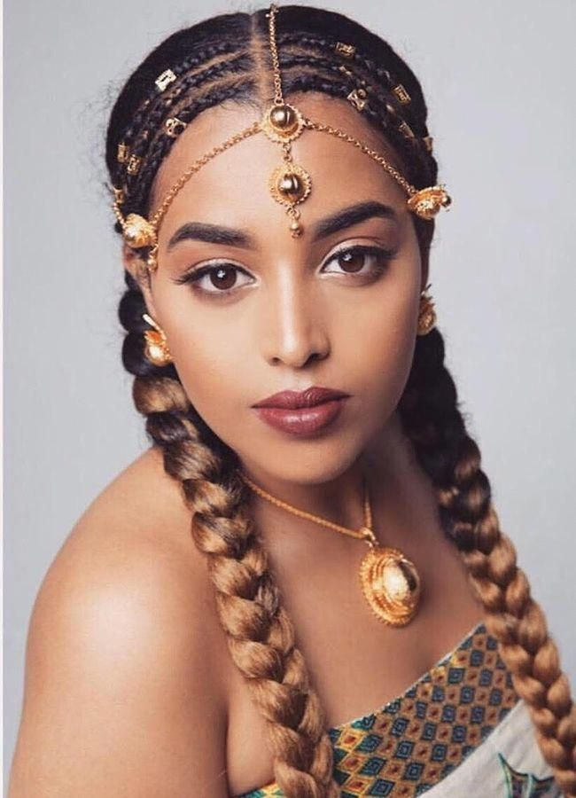 Woman With Head Piece Braidedhairstyles Ethiopian Hair Hair Styles African Hairstyles