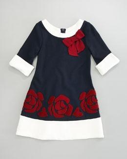 Monnalisa Floral Applique Dress