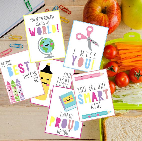 Lunch Box Cards, Printable Lunch Box Notes for Kids, Back to School Notes, Assorted Lunch Box Notes, Instant Download, Girl, Bright