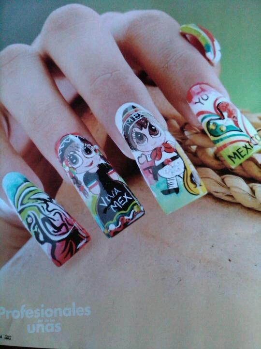 19 best Uñas Con diseños patrios images on Pinterest   Mexican nails ...