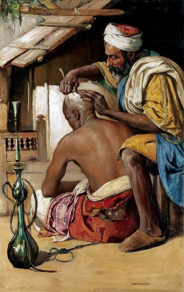 The Barber  By Gyula Tornai - Hungarian , 1861 - 1928  Oil on canvas , 68.5cm X 44cm