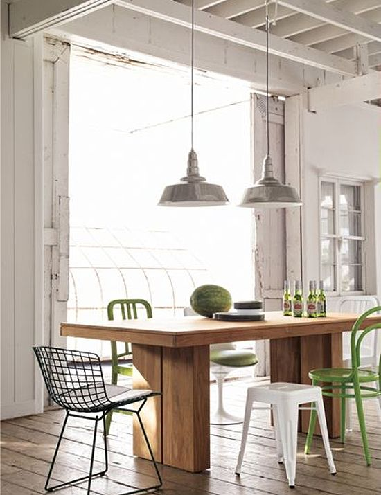 Kayu Teak Dining Table From DWR Via The Marion House Book Great Styling Mix Of Chairs Modern Wood Desk Lighting