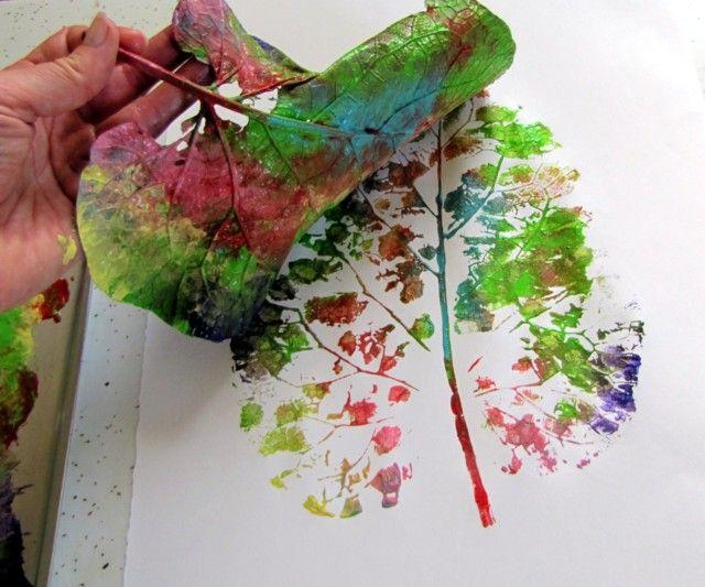 So cool, colored leaf art!