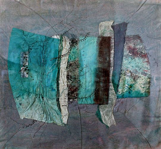 Susan McEwan uses fabrics, paint and plaster to suggest the textures and erosion found on the shoreline.