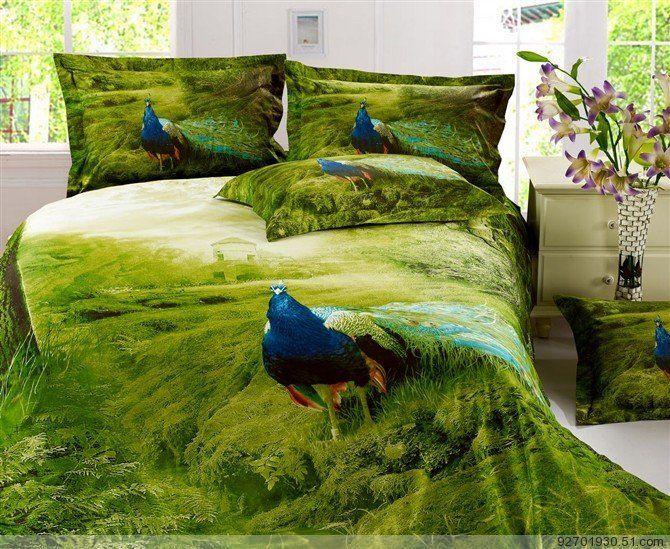 100% хлопок картина маслом павлин печати постельные принадлежности, 4 шт. наборы постельных принадлежностей, симпатичные павлин печати размер покрывала королева