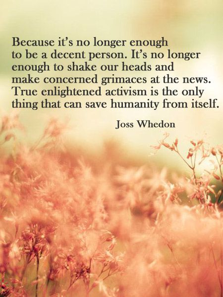 Because it's no longer enough to be a decent person. It's no longer enough to shake our heads and make concerned grimaces at the news. True enlightened activism is the only thing that can save humanity from itself. - Joss Whedon #quotes #progressive