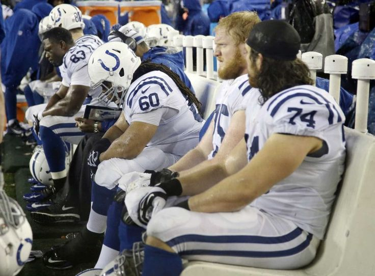 Indianapolis Colts vs Patriots 2015 | Indianapolis Colts players sit on the bench during, keep your heads up Colts