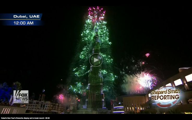 Dubai's 2013 NYE Fireworks display…500,000 fireworks atop the tallest bldg. in the world. Amazing! (Best video on Fox News...http://www.foxnews.com/on-air/shepard-smith/index.html#/v/2994859627001