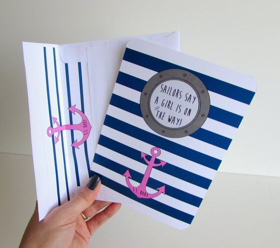 Nautical Baby Girl Shower Invitation Personalized Gender Reveal Baby Shower Invite Naval Anchor Invites Sailor Theme Baby Party Maritime on Etsy, $27.50