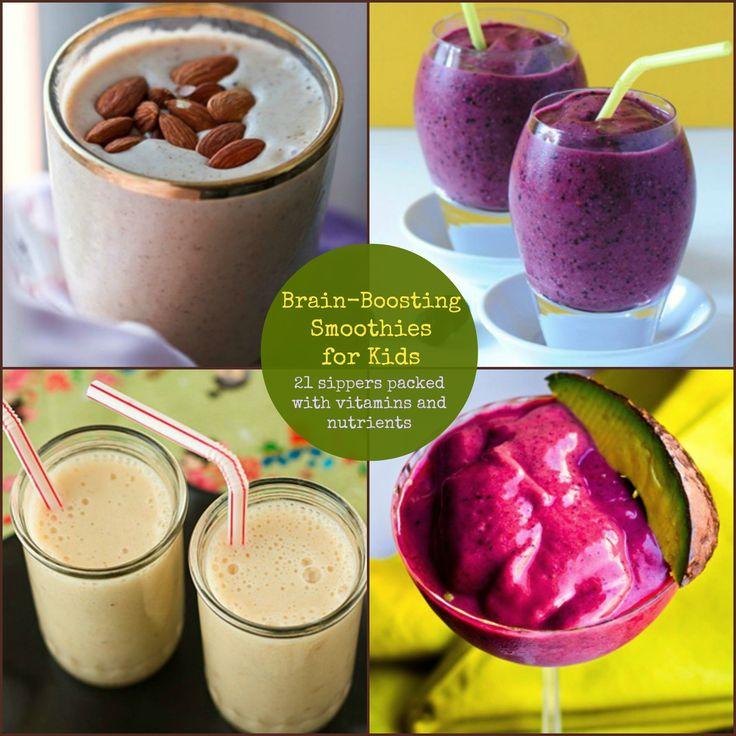 Brain-Boosting Smoothies for Kids 21 sippers packed with vitamins and nutrients #KidDrinks #HealthySmoothie #BrainDrinks