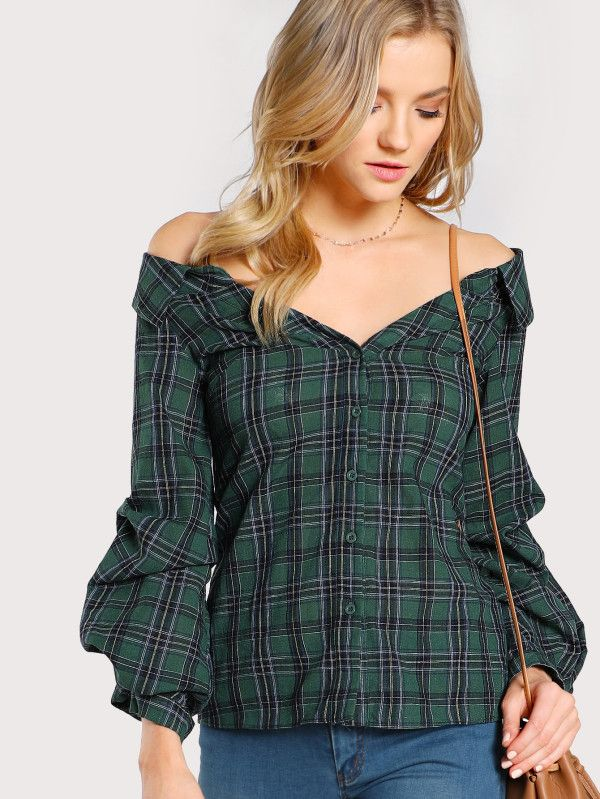 Shop Gathered Sleeve Collared Bardot Shirt online. SheIn offers Gathered Sleeve Collared Bardot Shirt & more to fit your fashionable needs.