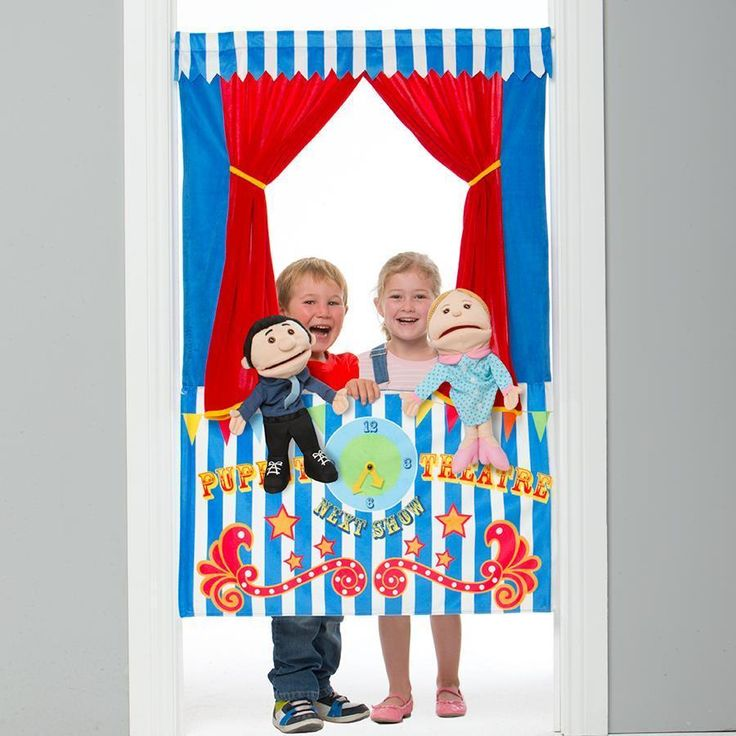 Door Frame Puppet Theatre Show Stage Curtains Pretend Play
