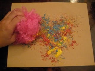 8 art ideas for kids with special needs from an art therapist.  This one with the scrubbie could be fun.