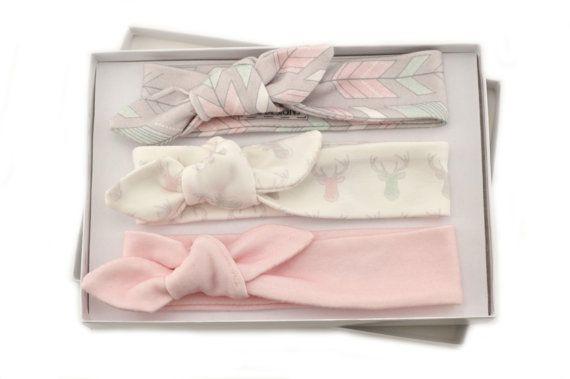 Baby Girl Headband Set/ Set of 3 Headbands/Organic Baby Headbands/Knotted Headbands/ Arrow/Deer head/Solid Headbands. This collection