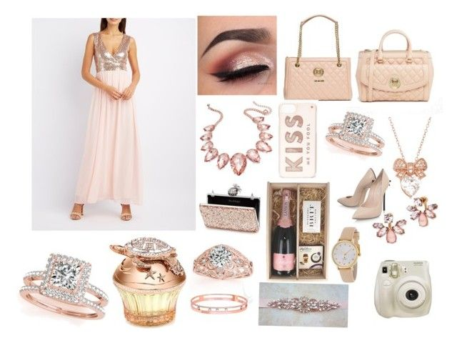 """""""🌸Rose 👑Gold 💖Outfit🌺 -🎀Thursday🎀✨"""" by emilyg-5 ❤ liked on Polyvore featuring Love Moschino, Fuji, Allurez, Kate Spade, Casadei, Thalia Sodi, Marchesa, Miss Selfridge, Charlotte Russe and Messika"""