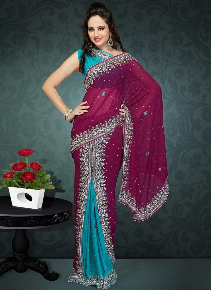 Fab Stones Studded Ready Pleated saree