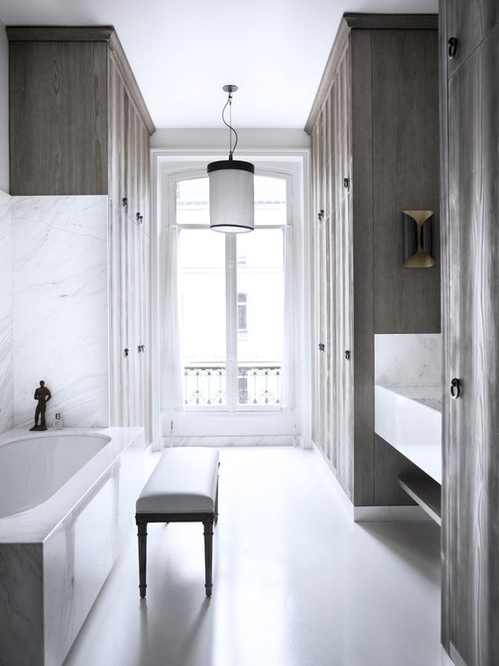 weathered wood, & marble ... flat in Paris designed by Gilles & Boissier | Habitually Chic®: Parisian Dream