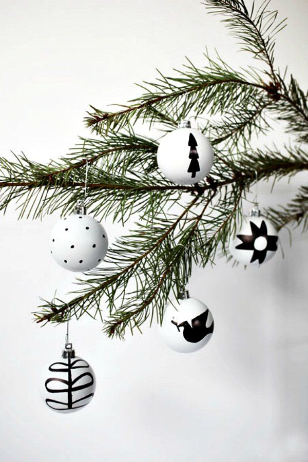 Black and White Nordic Ornaments by Brave New Home featured on The Found & Foraged Linky Party by The Big Reveal