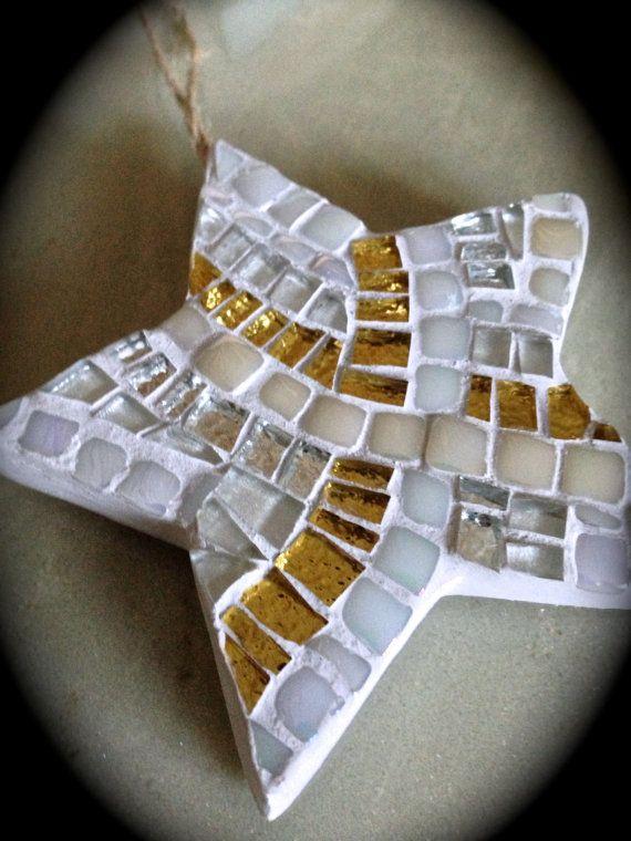 White and Gold Christmas Star Ornament Mosaic Star Holiday Keepsake Christmas Gift  Hanukkah Gift Mosaic Ornaments