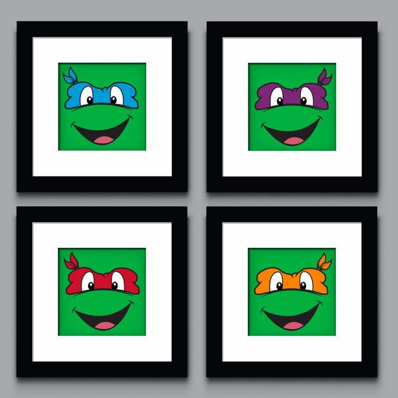 Teenage Mutant Ninja Turtle Decor wall art Kids Room Wall art Nursery Art Nursery Decor. 8x8 or 10x10. Leonardo, Donatello, Raphael & Michelangelo. $22