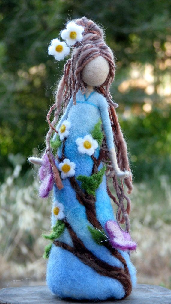 Needle felted Waldorf inspired art doll, tall about 9. She is full of love, happiness and silence, bringing a nature to her new house. She can make someone happy as a present, be a nice home decoration or a part of your nature table.  Thank you for visiting my shop