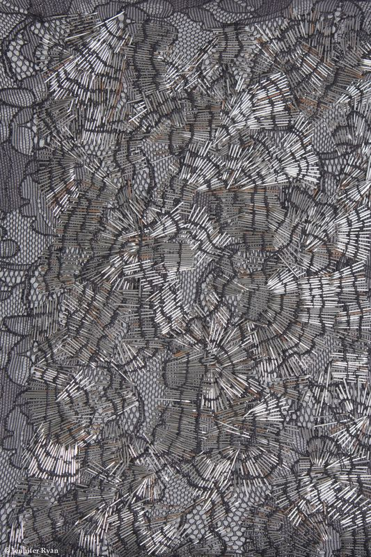 Experimental embroidery with pins on floral lace to create pattern & texture; fabric embellishment // Emmanuelle Dupont #textiles