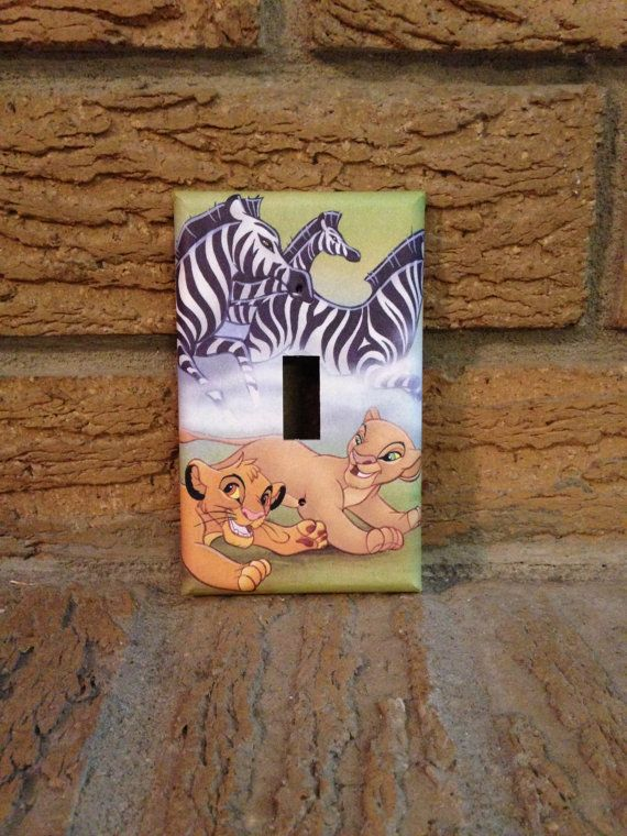 Simba and Nala Light Switch Cover Lion King by Hippiemysticstudio