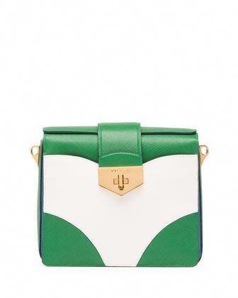 1d48ca0e79dd Bicolor Saffiano Turn Lock Shoulder Bag, Green/White/Blue  (Verde+Bianco+Cobalto) by Prada at Neiman Marcus. #Pradahandbags