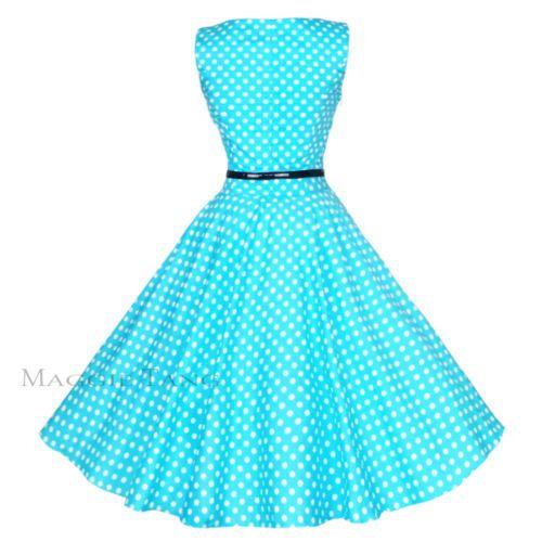 Maggie Tang 50s VTG Retro Pinup Rockabilly Polka Dot Housewife Swing Dress K-533
