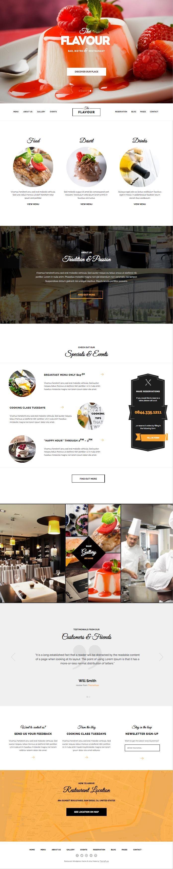 The Flavour WordPress Modern Restaurant Theme | repinned by www.altergrafix.be